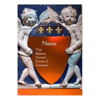 RENAISSANCE LITTLE ANGELS MONOGRAM Orange Agate Business Card Template