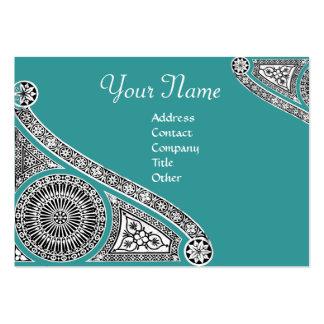RENAISSANCE Monogram 2 blue green Business Card Templates