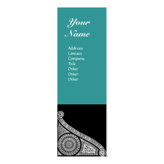 RENAISSANCE MONOGRAM 3 blue green Double-Sided Mini Business Cards (Pack Of 20)