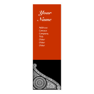 RENAISSANCE MONOGRAM 3 red orange Double-Sided Mini Business Cards (Pack Of 20)