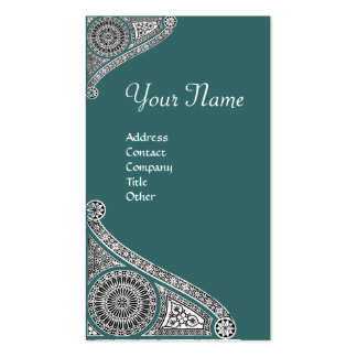 RENAISSANCE MONOGRAM 4 blue green Double-Sided Standard Business Cards (Pack Of 100)