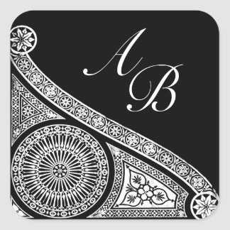 RENAISSANCE MONOGRAM Black and White Square Sticker