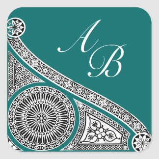RENAISSANCE MONOGRAM blue green Square Sticker