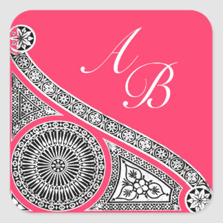 RENAISSANCE MONOGRAM pink fuchsia black white Square Sticker