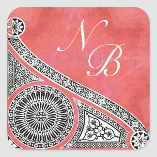 RENAISSANCE MONOGRAM pink red white Square Sticker
