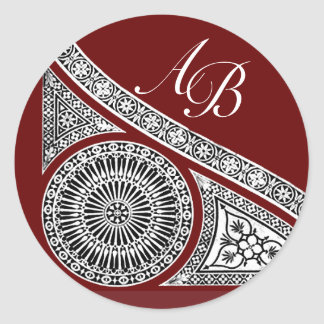RENAISSANCE MONOGRAM ,red Classic Round Sticker