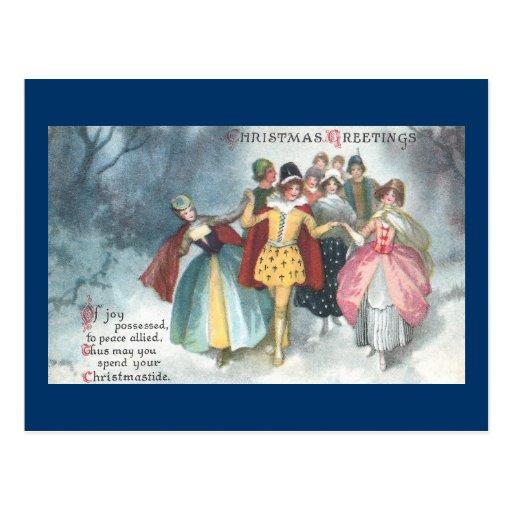 Renaissance People Vintage Christmas Postcard