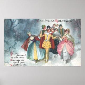 Renaissance People Vintage Christmas Poster