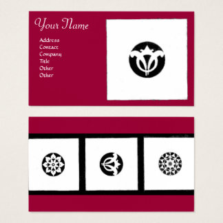 RENAISSANCE Red Black White Geometric Floral Business Card