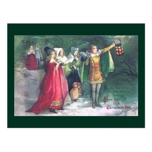 Renaissance Revelers on Stroll Vintage Christmas Postcard