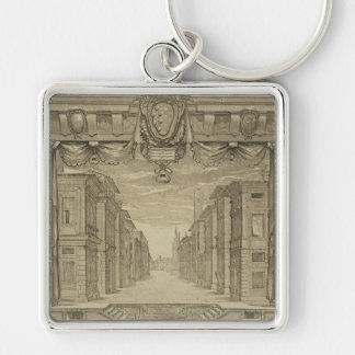 Renaissance Stage Design Silver-Colored Square Keychain