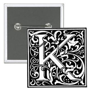 Renaissance Style Alphabet Letter K - Pin