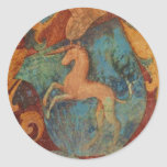 Renaissance Unicorn art Classic Round Sticker