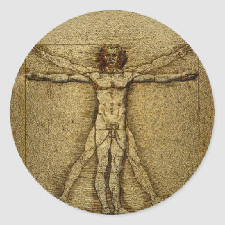 Renaissance Vitruvian Man 3D Round Sticker Seals