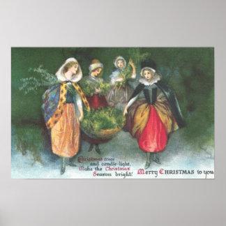 Renaissance Women Vintage Christmas Poster