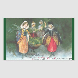Renaissance Women Vintage Christmas Rectangular Sticker