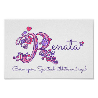 Renate initial R drawing heart art name meaning Poster