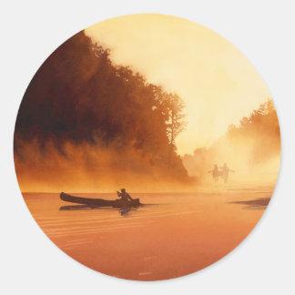 """Rendevous"" River Watercolor Art Classic Round Sticker"