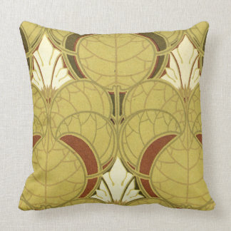 Rene Beauclair's Art Nouveau Lily Pad Throw Pillow