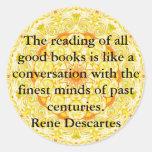 Rene Descartes Literature Quote Round Sticker