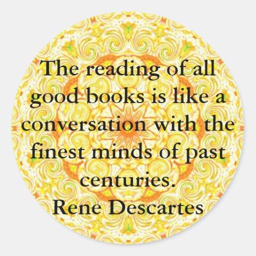 Rene Descartes Literature Quote Classic Round Sticker