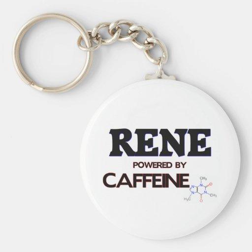 Rene powered by caffeine basic round button keychain