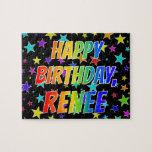 "[ Thumbnail: ""Renee"" First Name, Fun ""Happy Birthday"" Jigsaw Puzzle ]"
