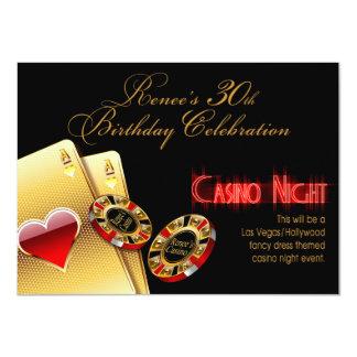 "Renee Vegas Casino Night 30th Birthday Party 4.5"" X 6.25"" Invitation Card"