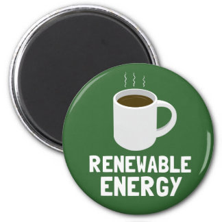 Renewable Energy Coffee Cup 2 Inch Round Magnet