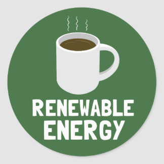 Renewable Energy Coffee Cup Classic Round Sticker