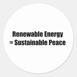 Renewable energy = Sustainable peace Round Stickers