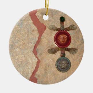 Renewal, collage ceramic ornament