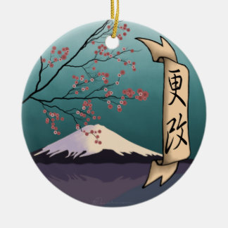 Renewal, Double-Sided Ceramic Round Christmas Ornament