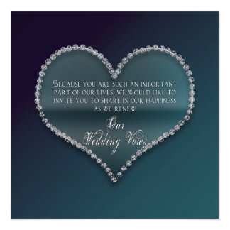 Renewing of Wedding Vows - Faux Diamond Heart Card