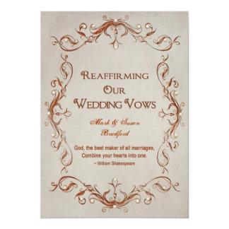 Renewing Our Vows - Orange/Beige - Design 5x7 Paper Invitation Card