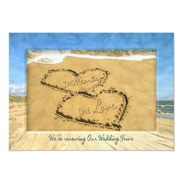 Beach Themed RENEWING WEDDING VOWS BEACH INVIATION - TWO HEARTS CARD