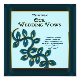 RENEWING WEDDING VOWS INVITATION - BLUE GOLD