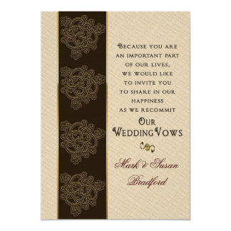 Renewing Wedding Vows Invitation- Brown/Beige/Gold Card