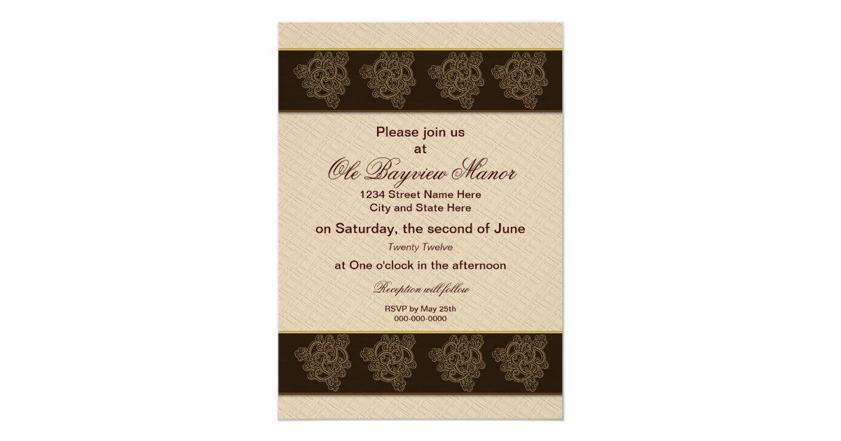 Renewing Wedding Vows Invitation BrownBeigeGold Card