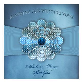 "Renewing Wedding Vows - Invitation - Elegant Blue 5.25"" Square Invitation Card"