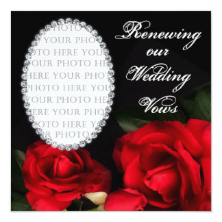 "RENEWING Wedding Vows - Invitation - Oval Photo 5.25"" Square Invitation Card"