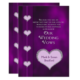 RENEWING WEDDING VOWS INVITATION - PURPLE - HEARTS