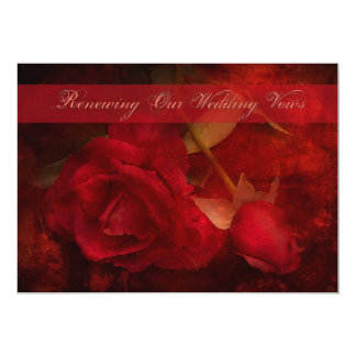 """RENEWING WEDDING VOWS - INVITATION RED ROSES 5"""" X 7"""" INVITATION CARD"""