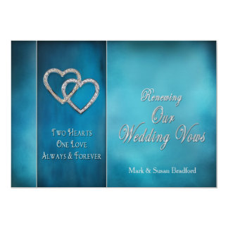 RENEWING WEDDING VOWS INVITATION-TWO HEARTS/BLUES INVITATION