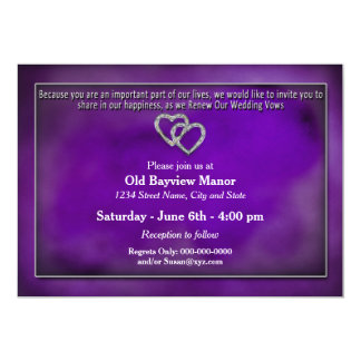 RENEWING WEDDING VOWS INVITATION-TWO HEARTS/PURPLE CARD