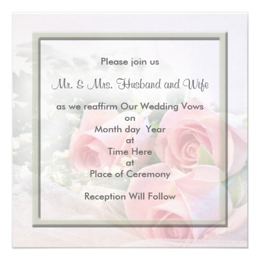 Renewing Wedding Vows Invitations 525 Square Invitation Card