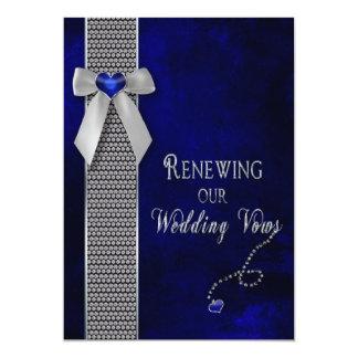 "Renewing Wedding Vows Invitations  Cobolt Blue 5"" X 7"" Invitation Card"