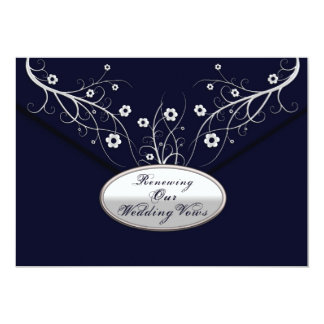 Renewing Wedding Vows - Invitations -Navy Floral