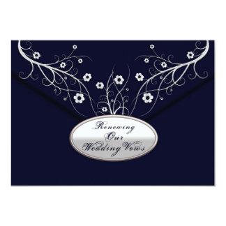 Renewing Wedding Vows - Invitations -Navy Floral