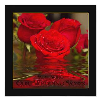 "Renewing Wedding Vows - Red Romantic Roses/invite 5.25"" Square Invitation Card"